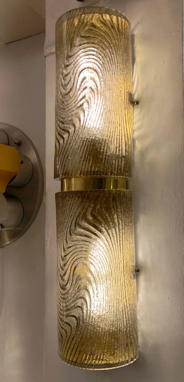 Contemporary Modern Italian Smoked Frosted Murano Glass and Brass Wall / Ceiling Lights For Sale