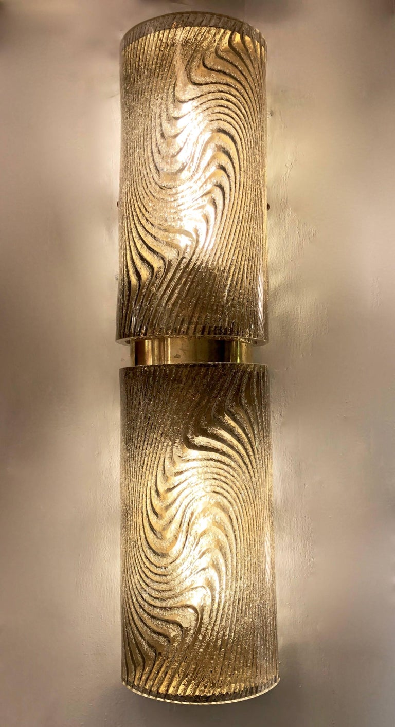 Modern Italian Smoked Frosted Murano Glass and Brass Wall / Ceiling Lights For Sale 4