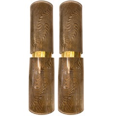 Modern Italian Smoked Frosted Murano Glass and Brass Wall / Ceiling Lights
