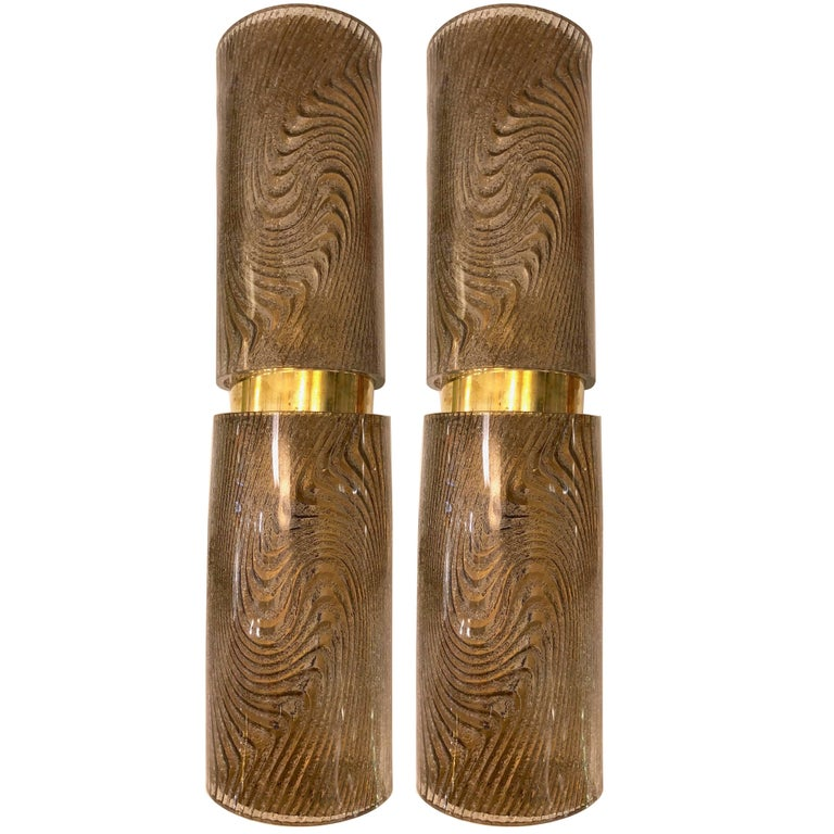 Modern Italian Smoked Frosted Murano Glass and Brass Wall / Ceiling Lights For Sale