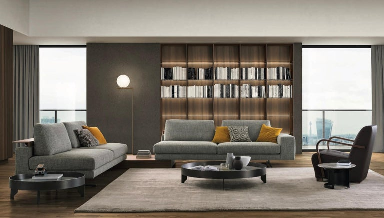 Modern Italian Sofa with Adjustable Back Shelves Made in Italy Contemporary