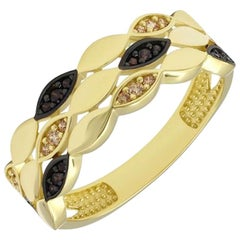 Modern Italian Style Yellow Gold Zirconia Ring For Her