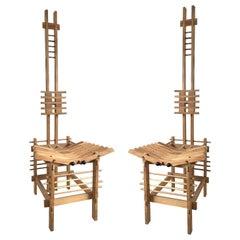 Modern Italian Tall Beech Anacleto Spazzapan Chairs, Pair
