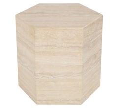 Modern Italian Travertine Hexagonal Side Table or Pedestal