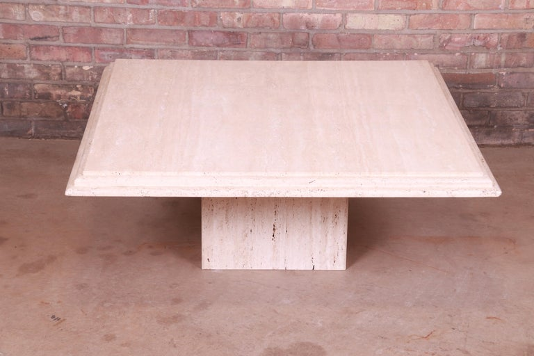 Modern Italian Travertine Marble Cocktail Table, Circa 1970s In Good Condition For Sale In South Bend, IN