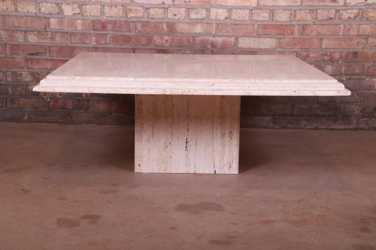 Late 20th Century Modern Italian Travertine Marble Cocktail Table, Circa 1970s For Sale