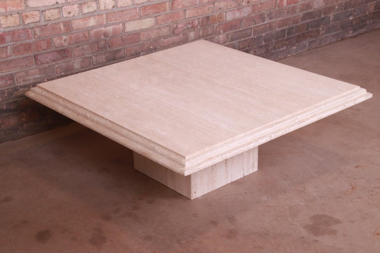 Modern Italian Travertine Marble Cocktail Table, Circa 1970s For Sale 1