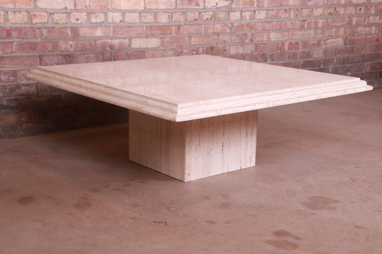 Modern Italian Travertine Marble Cocktail Table, Circa 1970s For Sale 2