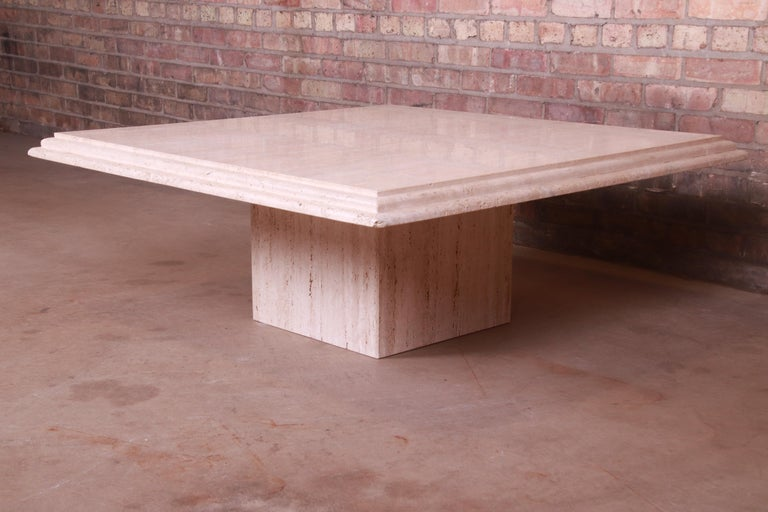 Modern Italian Travertine Marble Cocktail Table, Circa 1970s For Sale 3