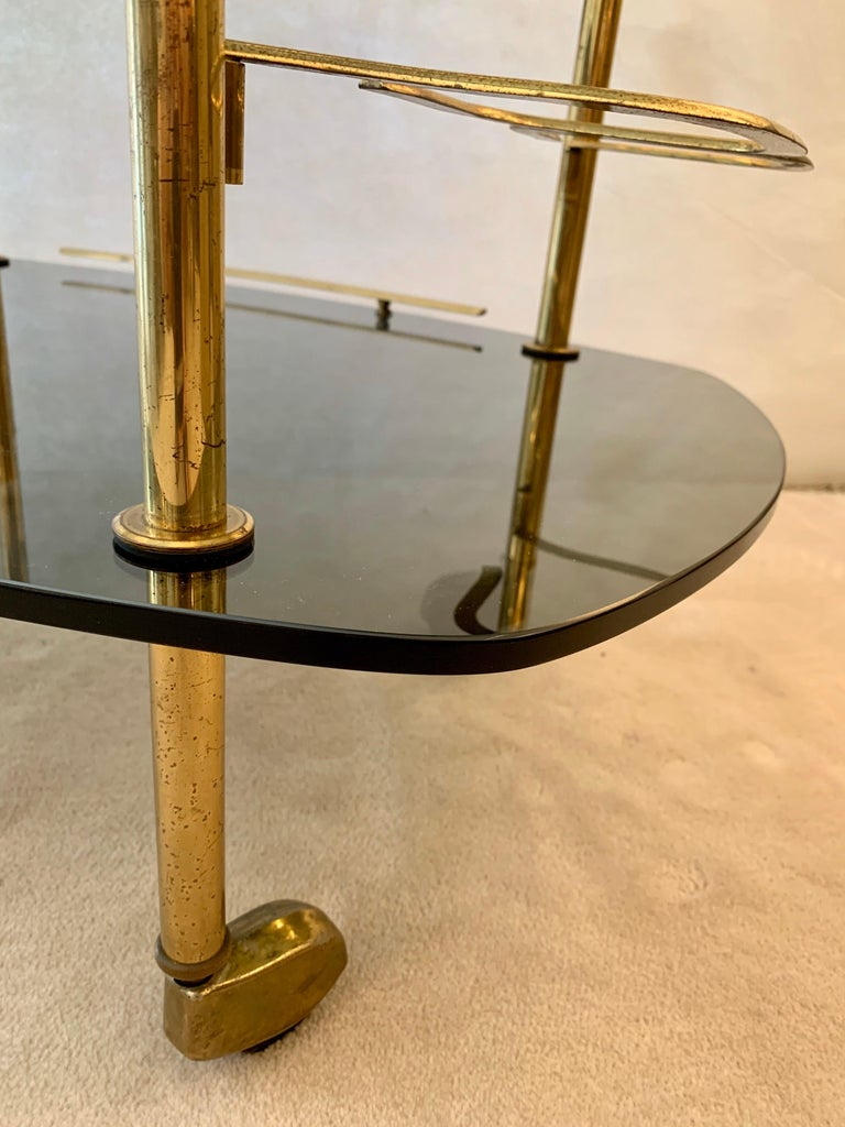 Mid-Century Modern Modern Italian Vintage Brass and Glass Bar Cart For Sale