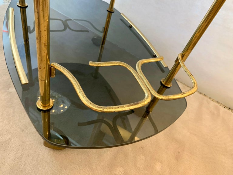 Modern Italian Vintage Brass and Glass Bar Cart In Good Condition For Sale In East Hampton, NY