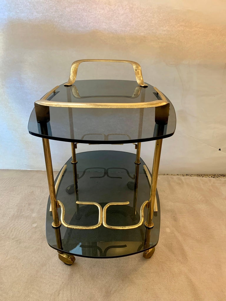 Modern Italian Vintage Brass and Glass Bar Cart For Sale 4