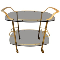 Modern Italian Vintage Brass and Glass Bar Cart