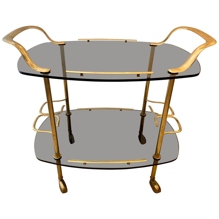 Modern Italian Vintage Brass and Glass Bar Cart For Sale