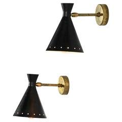 "Modern Italian Wall Lights ""cocotte"" Black Stilnovo Style Bedside"
