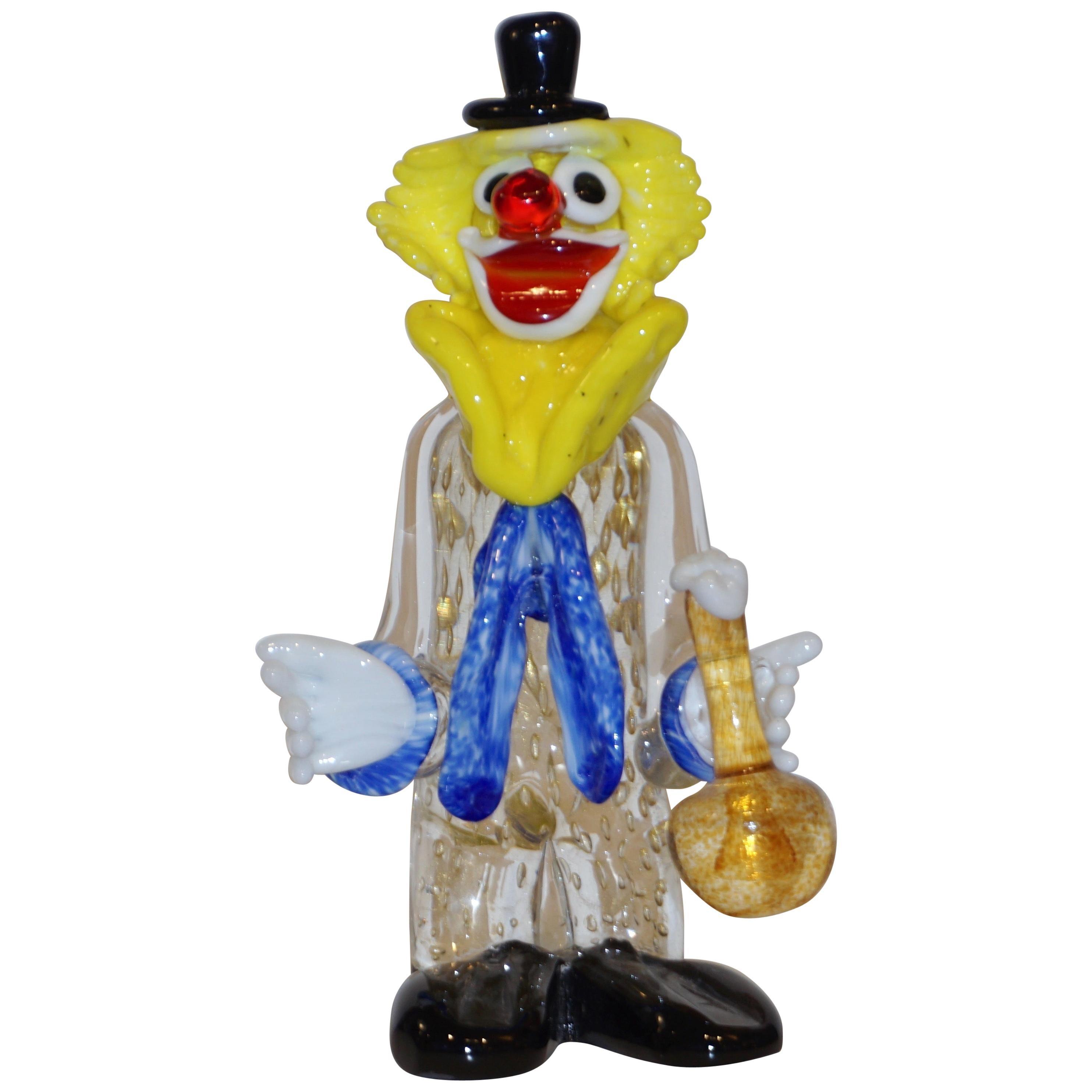 Modern Italian Yellow Black Murano Glass Clown Sculpture with Bottle & Blue Tie