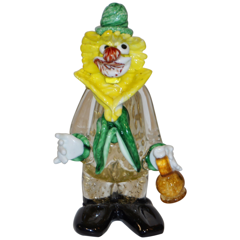 Modern Italian Yellow Black Murano Glass Clown Sculpture with Bottle & Green Tie