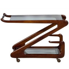 Modern Italian Zanuso Mahogany and Glass Bar Cart