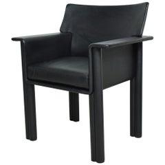 Italy Tobia & Afra Scarpa Refined Black Leather Cornelia Lounge Armchair  1960s