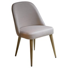 Modern Ivory Beige Fabric Dining Chair with Oak Base