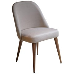 Modern Ivory Beige Fabric Dining Chair with Walnut Base