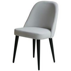 Modern Ivory White Fabric Dining Chair with Oak Base painted Black