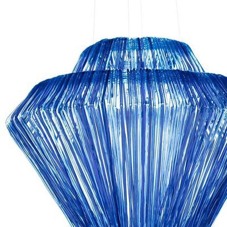 Italian Modern Jacopo Foggini Chandelier Sculpture Blue Resin Handmade For Sale