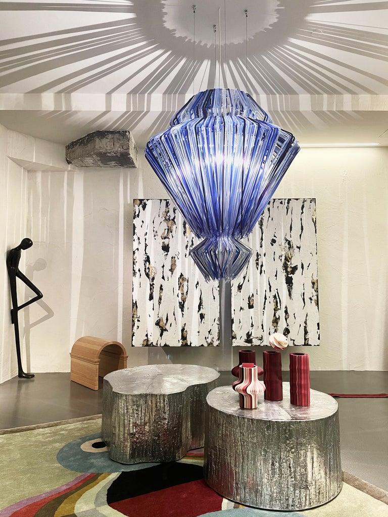 Modern Jacopo Foggini Chandelier Sculpture Blue Resin Handmade In New Condition For Sale In Milan, IT