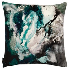 Modern Jade and Grey Cotton Velvet Cushion by 17 Patterns