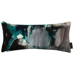 Modern Jade & Grey Cotton Velvet Lumbar Cushion by 17 Patterns