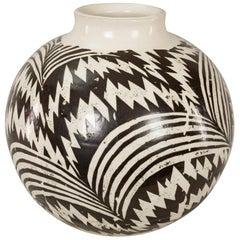 Modern Japanese Black and White Ceramic Studio Vase