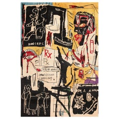Modern Jean-Michel Basquiat Inspired Artistic Area Rug. 6 ft 9 in x 9 ft 9 in