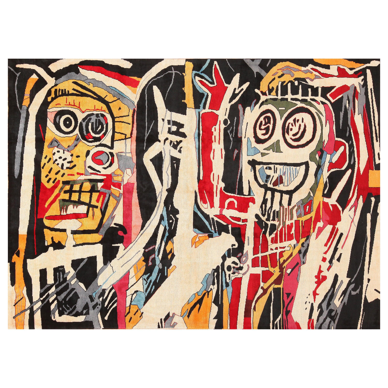 Modern Jean-Michel Basquiat Inspired Artistic Rug. 8 ft 2 in x 4 ft 10 in