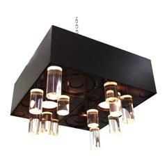 Modern Joe Colombo Style Glass Rod Flushmount Light Fixture
