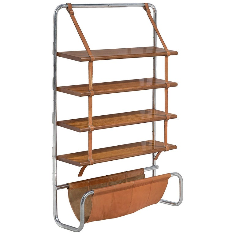 "Modern ""Jumbo"" Bookcase in Chrome, Leather and Wood by Luigi Massoni For Sale"