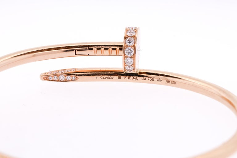 e09e318793a Modern Juste Un Clou Cartier 18 Karat Rose Gold Diamond Nail Bracelet In  Good Condition For