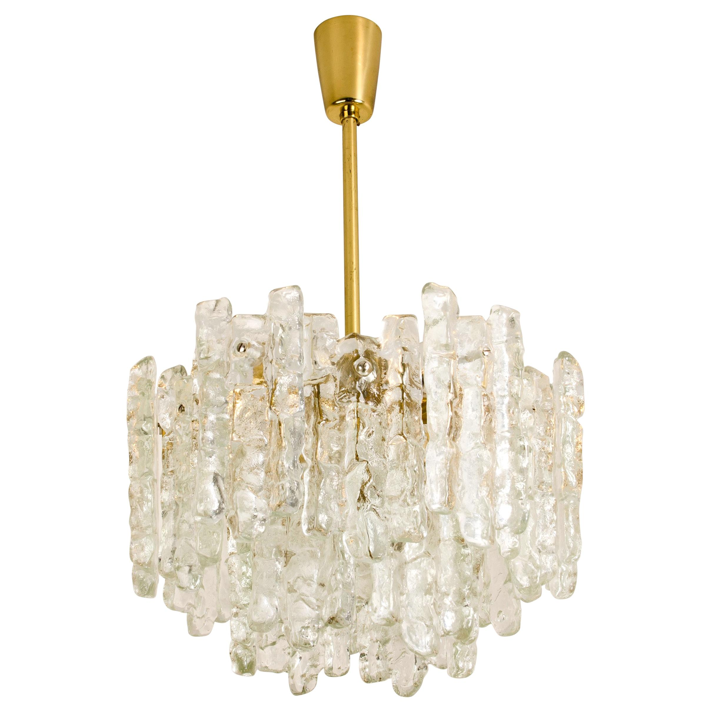 Pair Of Modern Kalmar Br Two Tiered Ice Gl Pedant Chandeliers 1970s