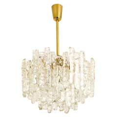 Modern Kalmar Brass Ice Glass Pendant Chandelier, 1970s