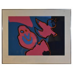 "Modern Karel Appel 1921-2006, 1970 Lithograph ""The Birds Flying Out"" 64/90"