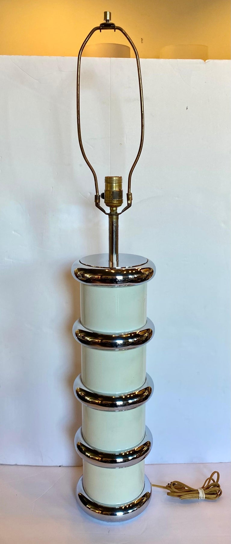 Metal Modern Karl Springer Style Chrome Ring Table Lamp by Mutual Sunset, 1970s For Sale