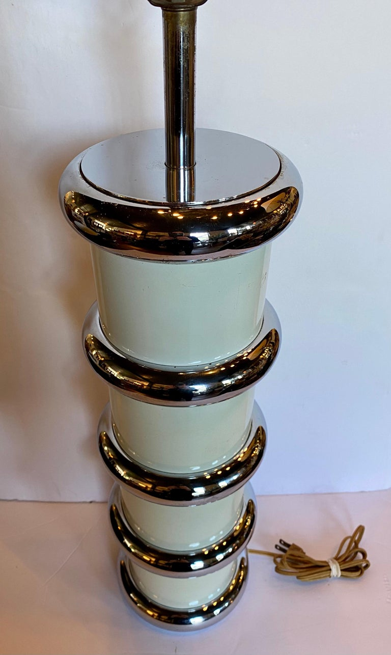 Modern Karl Springer Style Chrome Ring Table Lamp by Mutual Sunset, 1970s For Sale 1