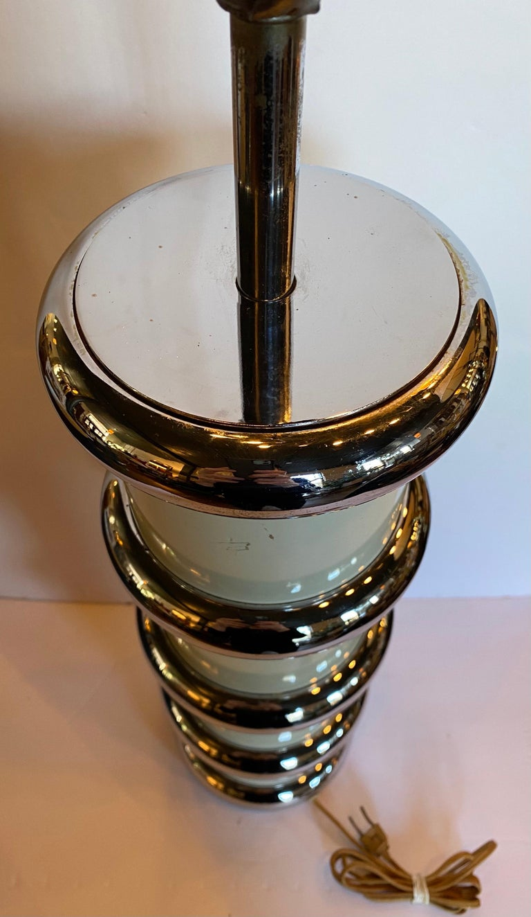 Modern Karl Springer Style Chrome Ring Table Lamp by Mutual Sunset, 1970s For Sale 2