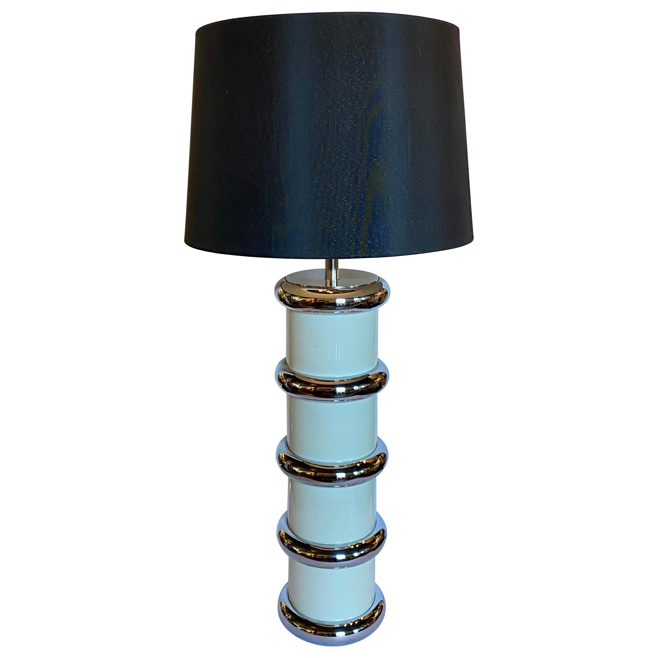 Modern Karl Springer Style Chrome Ring Table Lamp by Mutual Sunset, 1970s