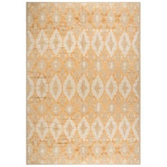 Modern Kasuri Beige, Gold and Orange Hand Knotted Wool Rug