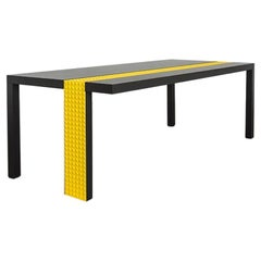 Modern Kata Matoga for Dilmos Rectangular Dining Table Lacquered Black Yellow