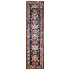 Modern Kazak Runner Rugs, Geometric Handmade Stair Carpet Rug