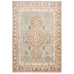 Modern Khotan Style Handmade Green Geometric Wool Rug