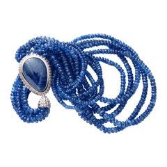 Modern Kianite Blue Pear Shaped Sapphire 5-Row Necklace 18 Karat White Gold