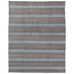 Modern Kilim Casual Rug with Stripes in Shades of Blue, Gray' and Charcoal