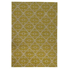 Modern Kilim Flat Handmade Carpet Geometric Kilim Rug Wool Yellow Rug